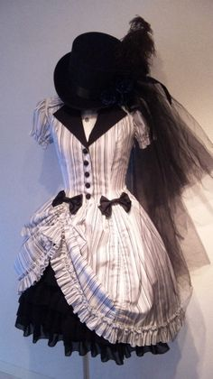 Classic Victorian/Edwardian Inspired Short Bustled White Pin-Stripped Dress w/ Black Petty Coat, Collar, & Veiled Top Hat. Um, YES.