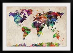 World Map Urban Watercolor Did my own. With brighter colors. Looks awesome in a barnwood frame!