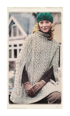 Instant Download PDF Seventies Knitting Pattern to make an Irish Aran Poncho Cape Thigh Length One Size to fit up to a 38 inch Bust