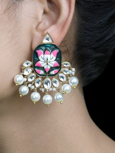 The Loom- An online Shop for Exclusive Handcrafted products comprising of Apparel, Sarees, Jewelry, Footwears & Home decor. Indian Jewelry Earrings, Fancy Jewellery, Jewelry Design Earrings, Indian Wedding Jewelry, Small Earrings, Stylish Jewelry, Fashion Jewelry, Earring Trends, Jewelry Trends