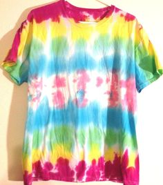 Tie Dye T Shirt Adult Large Bright Colorful Pink Yellow Turquoise Green   #Hanes…