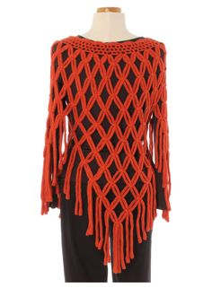 Lu Anders Boutique - Radzoli Crocheted Open Weave Poncho Sweater - Orange, $85.00 (http://www.luanders.com/radzoli-crocheted-open-weave-poncho-sweater-orange/)