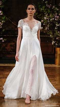 ISABELLE ARMSTRONG bridal spring 2017 illusion short sleeves sweetheart aline wedding dress (kaitlyn) mv slit skirt #bridal #wedding #weddingdress #weddinggown #bridalgown #dreamgown #dreamdress #engaged #inspiration #bridalinspiration #weddinginspiration #weddingdresses