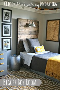 How to Make a Rustic Headboard with a Light Fixture by Chic on a Shoestring Decorating #BoyBedrooms