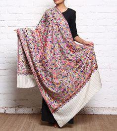 Multicoloured Embroidered Pure Pashmina Shawl