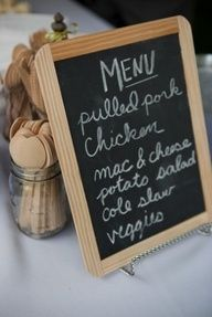 Rustic I do BBQ (Barbecue) Wedding Ideas Borrow the beautiful ideas to create a casually gorgeous wedding event. Begin planning rustic barbecue BBQ wedding from the details like burlap menus, wooden Wedding Reception Ideas, Summer Wedding Menu, Wedding Events, Rustic Wedding, Dc Weddings, Picnic Weddings, Wedding Picnic, Trendy Wedding, Wedding Catering