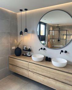 Bathroom Design Inspiration, Home Decor Inspiration, Bathroom Inspo, Cozy Bathroom, Earthy Bathroom, Natural Bathroom, Bathroom Black, Mirror Bathroom, Bathroom Goals