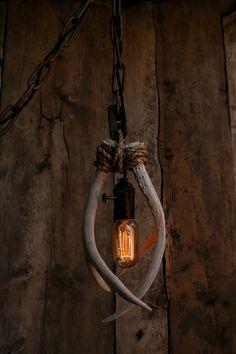 Antler Pendant Light - Rope Light - Hanging light -Ceiling light - Antler chandelier, Antler lamp