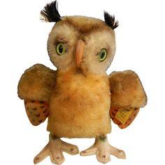 Vintage Original Steiff Stuffed Animal - Green Eyed Owl.