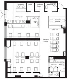 Hair salon designs and products that i love on pinterest for Beauty salon floor plans