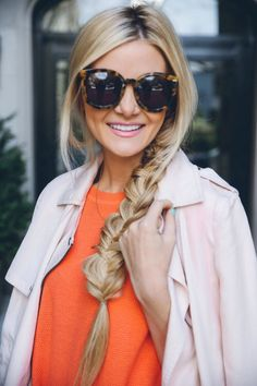 Image via We Heart It #blonde #braid #fashion #girl #hairstyle #longhair #outfit #style #sunglasses