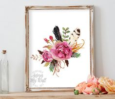 Floral printable, Floral print, Instant download, Home decor, Printable wall art, Watercolor flowers, Printable art, floral nursery art
