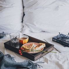 simple,cozy breakfast in bed