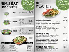 THE DELI - lunch bar & sandwich delivery service menus.