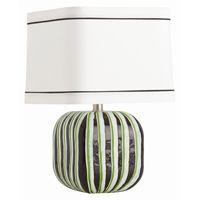 Arteriors Turner Black/Apple Green/White Triple Ply Gls Lamp
