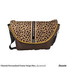 Cheetah Personalized Center Stripe Messenger Messenger Bag. Regalos, Gifts. #bolso #bag #DiaDeLasMadres #MothersDay