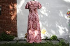 Pink Maxi dress with floral pattern Vintage 1960s by WooWhoVintage
