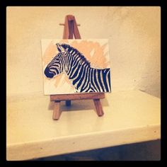 mini zebra canvas with wooden stand