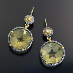 oxidized sterling silver 22kt gold lemon quartz earrings