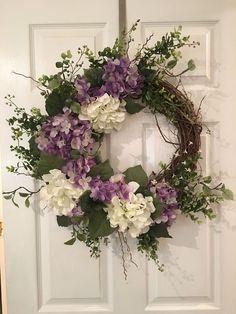 Hydrangea wreath, purple and white hydrangea wreath, spring/summer grapevine wre. : Hydrangea wreath, purple and white hydrangea wreath, spring/summer grapevine wreath Wreath Crafts, Diy Wreath, Grapevine Wreath, Wreath Ideas, Wreath Making, Deco Originale, Hydrangea Wreath, Deco Floral, Summer Wreath