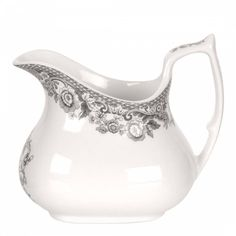 This Delamere Rural cream jug from Spode is the perfect accompaniment for your teapot and sugar pieces, creating a striking afternoon tea setting. The cream jug features a beautiful slate grey border and is dishwasher, microwave, freezer and oven safe. Mugs And Jugs, Rose Milk, Wrendale Designs, Utensil Set, Tea Service, Milk Jug, Royal Albert, Earthenware, Tea Set