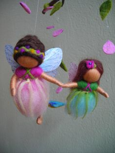 Reserved for RoseT - Big fairies mobile - waldorf inspired, needle felted