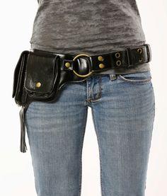Fringe Hip Pack Leather Utility Belt Black Largest от WCCouture