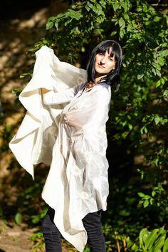Ruffle White Handmade nunofelted shawl scarf wrap Ready by ProninA Mob Dresses, Scarf Wrap, Shawl, Trending Outfits, Handmade, Etsy, Vintage, Fashion, Moda