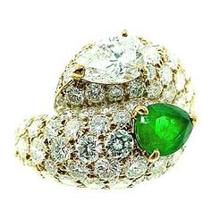 1stdibs - CARTIER  Diamond  Emerald  Bypass  Ring explore items from 1,700  global dealers at 1stdibs.com