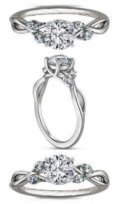 Floral #Diamond Engagement Ring Marquise Vine in 14K White Gold. http://jangmijewelry.com/