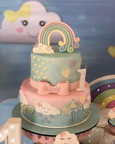 Baby Girl Birthday Decorations, 1st Birthday Cake For Girls, Baby Birthday Cakes, Rainbow Birthday Party, Girly Cakes, Cute Cakes, Baby Shower Cakes, Cloud Cake, Baby Girl Cakes
