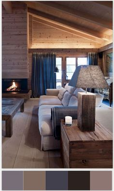 Architecture, Wooden Table Lamp Rustic Living Room Chalet House Design With White Sofa Gray Window Curtains And Wooden Wall Ideas ~ Elegant and Cozy Chalet Located in Gstaad House Design, Mountain Interiors, Living Room Warm, Chalet Design, Trendy Living Rooms, House Interior, Rustic Living Room, Interior Design, Rustic House