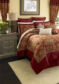 Master Bedroom -Pellegrini Bedding Collection    Make a dramatic statement in rich cotton damask with our Pellegrini Bedding, drawn from the warm red tones in the Biltmore House.