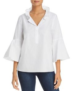 Le Gali Jade Ruffle Collar Blouse - 100% Exclusive Crop Top Shirts, Shirt Blouses, Ruffle Collar Blouse, Bell Sleeve Blouse, Bell Sleeves, Sleeveless Crop Top, Boho Tops, White Tops, Stylish Outfits