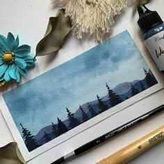 Painting Clouds, Watercolor Clouds, Watercolor Landscape, Watercolor Art Lessons, Watercolor Paintings For Beginners, Watercolor Techniques, Mountains Watercolor, Cool Art Drawings, Diy Canvas Art