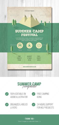 Summer Camp Flyer Template AI Illustrator. Download here: https://graphicriver.net/item/summer-camp/16938254?ref=ksioks