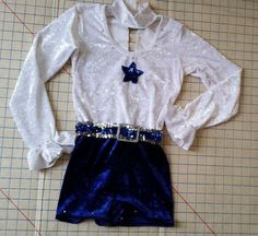 Dance Costume Gallery Unitard Long sleeve White Blue Velour Recital child Large #CostumeGallery