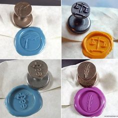 """Make your graduation invitations & gifts pop with a wax seal from Lightbringer Designs!  A seal grabs attention - most people have never seen one in person before, & it feels different when they are sorting through the mail so it will never get missed.  Choose the traditional mortarboard hat or a symbol of your graduate's profession, and with 31 colors of sealing wax, you're sure to find their school colors.  Use coupon code """"2017GRAD"""" for $10 off a seal and 4 sticks of wax! (expires May 12)"""