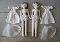 This was a { c u s t o m . o r d e r } for two Bosom Dolls made from a Mama's couture silk & lace wedding dress for her two daughter...
