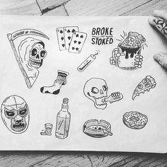 Tattoo Flash Sheet, Tattoo Flash Art, Poke Tattoo, Tattoo You, Lsd Art, Skate Art, Tattoo Graphic, Stick And Poke, Drawing Practice