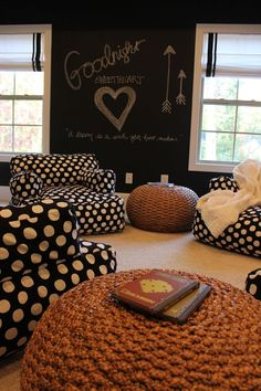 "We love this ""teen hangout room"" designed perfectly with polka dots, comfy furniture and chalk board walls...sometimes the most efficient way to communicate with your teenager! Don't forget some witty throw pillows from our RoomCraft lines! RoomCraft.com"