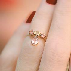 """Crystalline"" Morganite Diamond Knuckle Ring - Plukka - Shop Fine Jewelry Online"