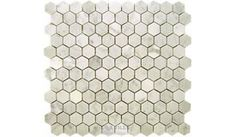 Clear View - Marble Mosaic Tile Hexagon White Carrara 12 inch x 12 inch Mesh Backed Sheet - ( MOS305 )