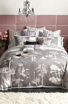 Blissliving Home 'Madeline' 300 Thread Count Duvet Set (Online Only) | Nordstrom  grey....would work great with white & purple!