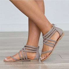 4da2fc07f8eb Gladiator Cross Tied Sandals. Women s Shoes ...