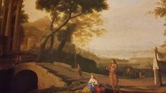 FRENCH FOLLOWER OF CLAUDE LORRAIN. CLASSICAL LANDSCAPE WITH DAFNI AND CLOE. 1680/ 1690. oil on canvas. 110 × 150 cm. Bibliografia : Inedito. Provenance : acquired by Sanpaolo from mercato antiquario with attribuition to french painter follower of Claude Lorrain. Collezioni d ' arte del Sanpaolo. Inv. No. 983.