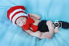 Dr. Suess Cat in the Hat Inspired Newborn Photo Prop with Diaper Cover. $35.00, via Etsy.