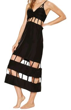 Cut out silk black dress