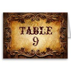Rustic CowBoy Western Wedding Table Number Card
