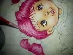 pintando cabelinhos cor de rosa - pintura em tecido - YouTube